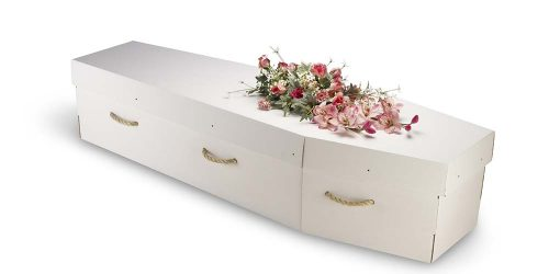 A cardboard bio-degradable eco-coffin, casket isolated on white with a clipping path