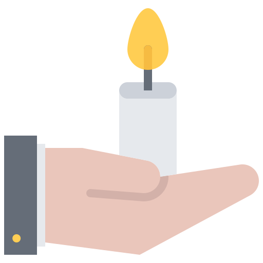 Hand holding candle icon